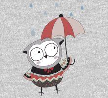 Cartoon Birds Rainy Day Owl One Piece - Long Sleeve