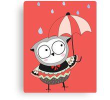 Cartoon Birds Rainy Day Owl Canvas Print