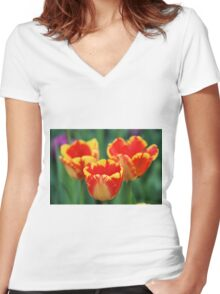 Happy Tulips Women's Fitted V-Neck T-Shirt