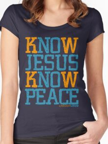 Know Jesus Know Peace No Jesus No Peace Women's Fitted Scoop T-Shirt