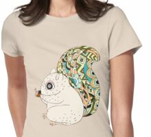 Cute Cartoon Animals Squirrel With Decorative Tail Womens Fitted T-Shirt