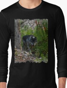 Stalking Grey Wolf and Forest Long Sleeve T-Shirt