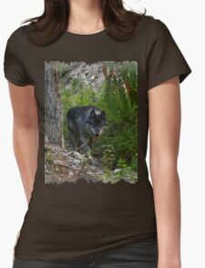 Stalking Grey Wolf and Forest Womens Fitted T-Shirt