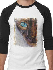 Siamese Cat Painting Men's Baseball ¾ T-Shirt