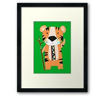 Cute Cartoon Animals Tribal Tiger Framed Print