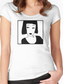 Have a Cig, Girl (black on white) Women's Fitted Scoop T-Shirt