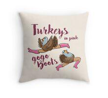 Turkeys in Pink  Throw Pillow