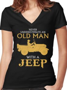 OLD MAN WITH A JEEP Women's Fitted V-Neck T-Shirt