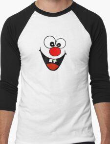 Cracked Tooth - Big Red Nose Cartoon Head Decal Kids Bag Tee Men's Baseball ¾ T-Shirt
