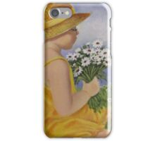 Girl in a straw hat iPhone Case/Skin
