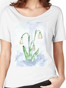 Snowdrop Flowers Painting 3 Women's Relaxed Fit T-Shirt