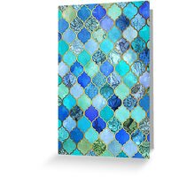 Cobalt Blue, Aqua & Gold Decorative Moroccan Tile Pattern Greeting Card