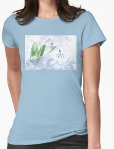 Snowdrop Flowers Painting 4 Womens Fitted T-Shirt
