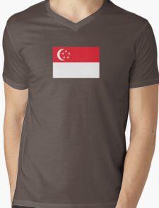 I Love Singapore - Country Code SG - T-Shirt & Sticker Mens V-Neck T-Shirt