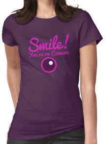 Smile you're on CAMERA! in pink Womens Fitted T-Shirt