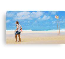 Girl & Flags, Pipeline, North Shore, Oahu, Hawaii Canvas Print