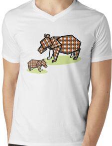 Mother Bear Baby Bear Origami Mens V-Neck T-Shirt