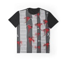 Dark Creepy Dangling Heart Strings In Striped Trees Graphic T-Shirt