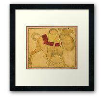 A partially coloured drawing of a strutting camel, Persia, Safavid, 17th century Framed Print