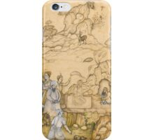 A prince visiting a dervish in the wilderness, identified as the King of Yemen visiting Shaykh Sanan, attributable to 'Abd al-Samad and Nar Singh, Mughal,  iPhone Case/Skin