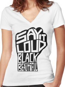 SAY IT LOUD: Black is Beautiful Women's Fitted V-Neck T-Shirt