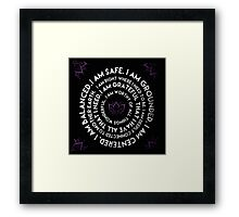 I Am Mantra Round Yoga with floral Framed Print