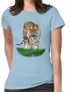 Tiger on Green Womens Fitted T-Shirt