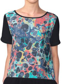 Urban Hip Hop Splash Psychedelic Colors Abstract Pattern Chiffon Top