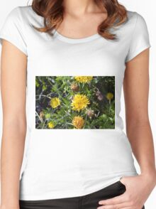 Yellow flowers in the green grass. Women's Fitted Scoop T-Shirt