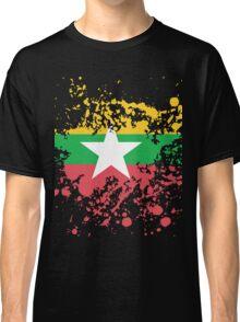 Myanmar Flag Ink Splatter Classic T-Shirt