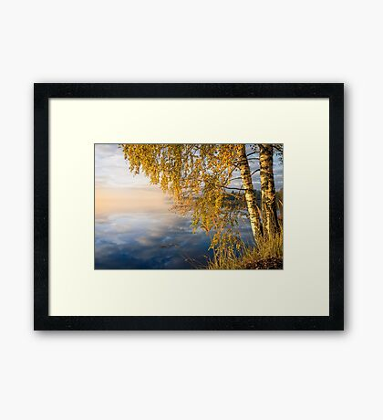 From blue to yellow II (nice morning light on the lake) Framed Print