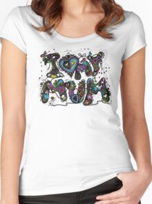 I Love My Mum Multicoloured Aussie Tangle  Women's Fitted Scoop T-Shirt