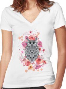 OWL & FLOWERS Women's Fitted V-Neck T-Shirt