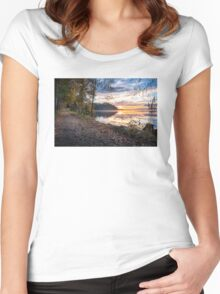 Lovely morning sunrise at the lake Women's Fitted Scoop T-Shirt