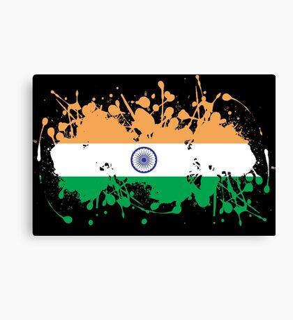 India Flag Ink Splatter Canvas Print