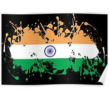 India Flag Ink Splatter Poster