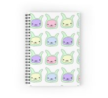 Kawaii Pastel Bunnies in Green Hoods Spiral Notebook