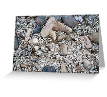 some stones with sand and shells  Greeting Card