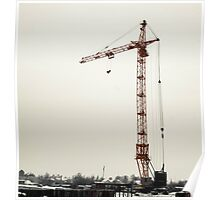 yellow crane in winter  Poster