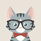 Grey Tabby Hipster Cat by Lisa Marie Robinson
