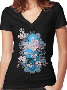 Blossom sakura. Vector illustration Women's Fitted V-Neck T-Shirt