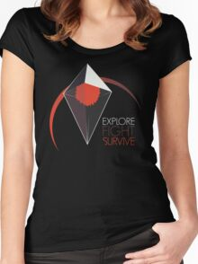 Explore, Fight, Survive – No Man's Sky Design Women's Fitted Scoop T-Shirt