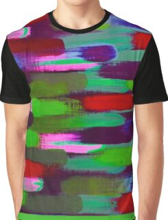 Green Red and Pink Brush Stroke Horizontal Lines Graphic T-Shirt