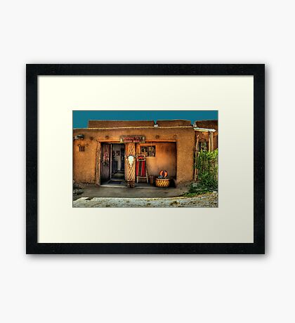 """ Morning Talk On Taos Pueblo"" Framed Print"