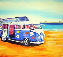'Flower Power 60's Kombi' at the beach by gillsart