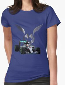 Lewis Hamilton 2016 F1 car driving Womens Fitted T-Shirt