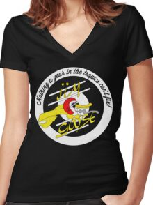 MAD MAX Inspired Jim Goose Tribute T-Shirt (Dark) Women's Fitted V-Neck T-Shirt