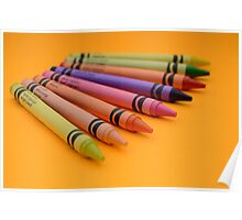 Multi-coloured Wax Crayons Poster