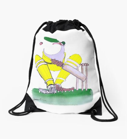 Aussie Cricketer gob smacked, tony fernandes Drawstring Bag