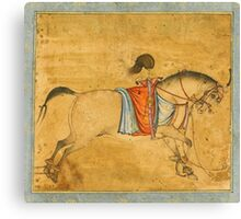 A tethered stallion, attributable to Govardhan, Mughal, circa  Canvas Print